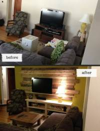 Living Room Remodel Wooden Backsplash Makeover On A Budget ...