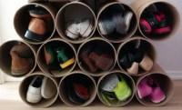 Super Easy DIY Shoe Storage Rack Made From Cardboard Tubes ...