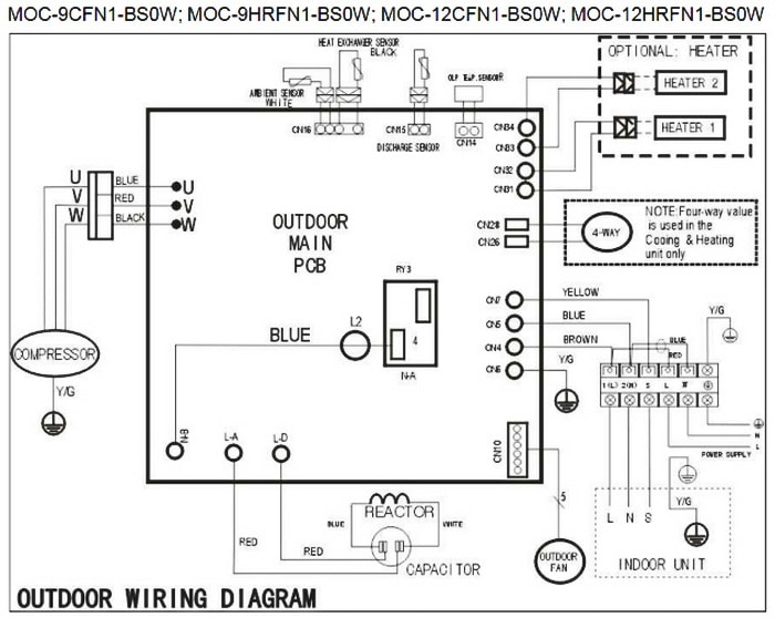 wiring diagram for split ac unit