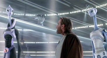 Lama Su (Anthony Phelan), Taun We (Rena Owen) and Obi-Wan Kenobi (Ewan McGregor) discuss cloning