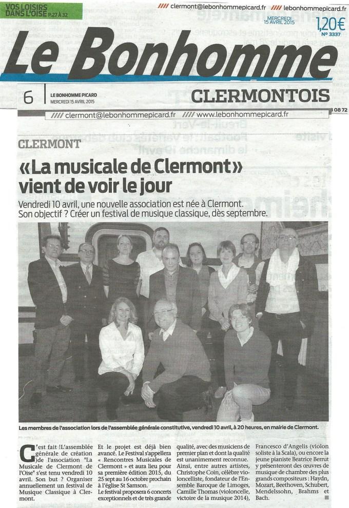 """Le Bonhomme Picard - 20150415 -  """"La musicale de Clermont"""" vient de voir le jour"""