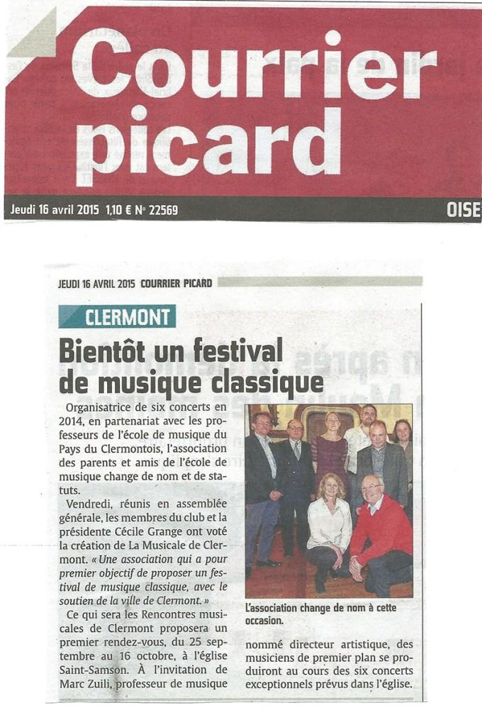 Le Courrier Picard - Bientôt un festival de musique classique