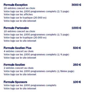 formules sponsors