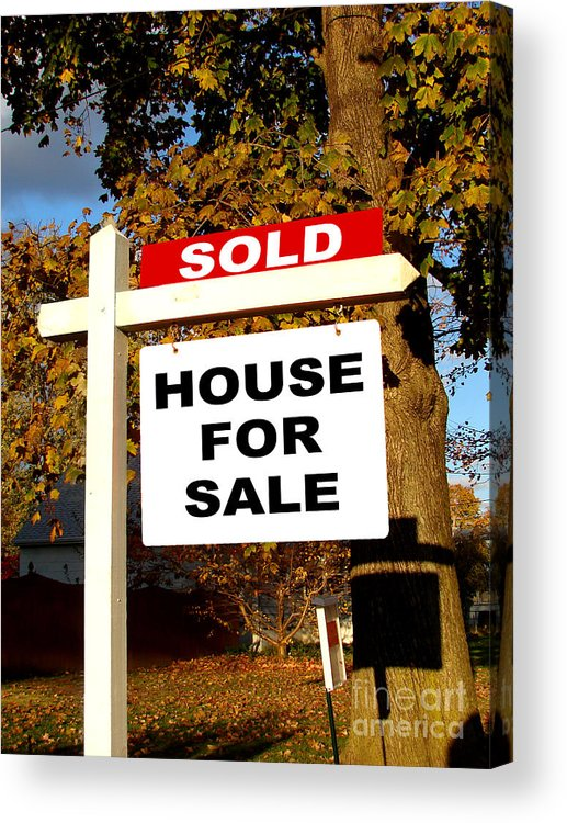 Real Estate Sold And House For Sale Sign On Post Acrylic Print by