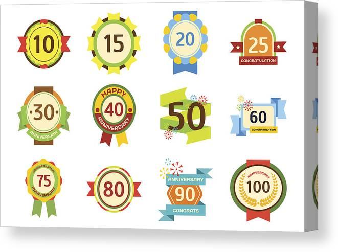 Birthday Badge Banner Design Flat Set Celebration Emblem Anniversary