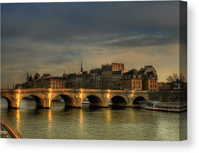 Shop Art Saint Nazaire Pont Neuf At Sunset, Paris, France Canvas Print / Canvas