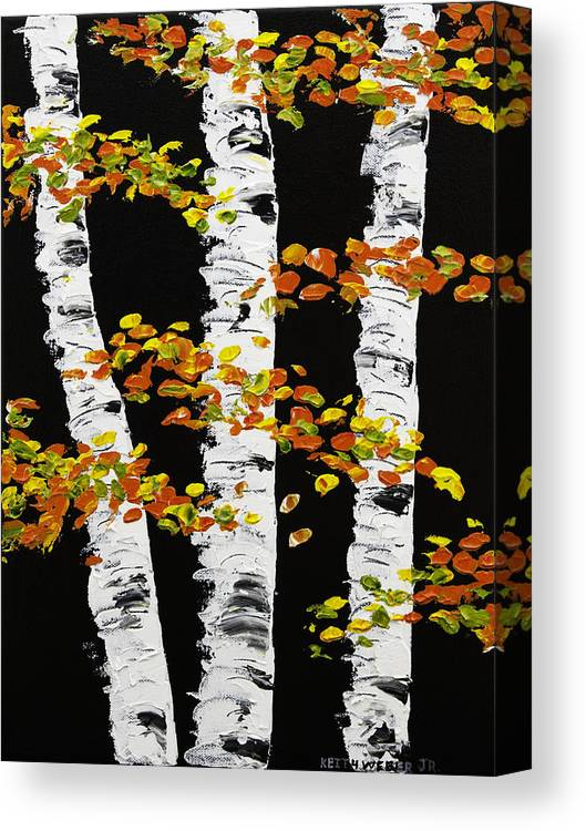 Round Mirror With Black Frame White Birch Trees In Fall On Black Background Painting