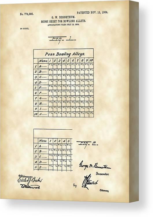 Bowling Score Sheet Patent 1904 - Vintage Canvas Print / Canvas Art