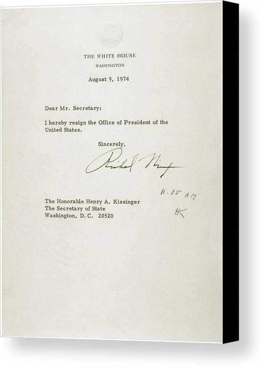 President Nixons Letter Of Resignation Canvas Print / Canvas Art by