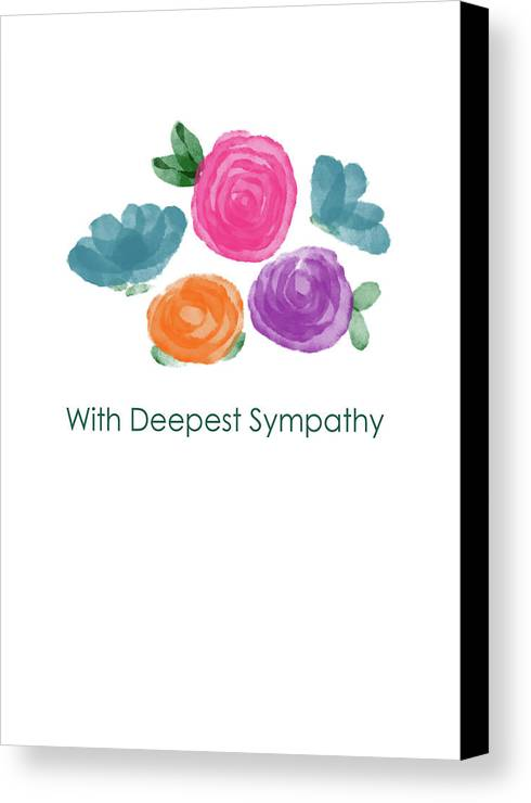 Watercolor Rose Sympathy Card- Art By Linda Woods Canvas Print