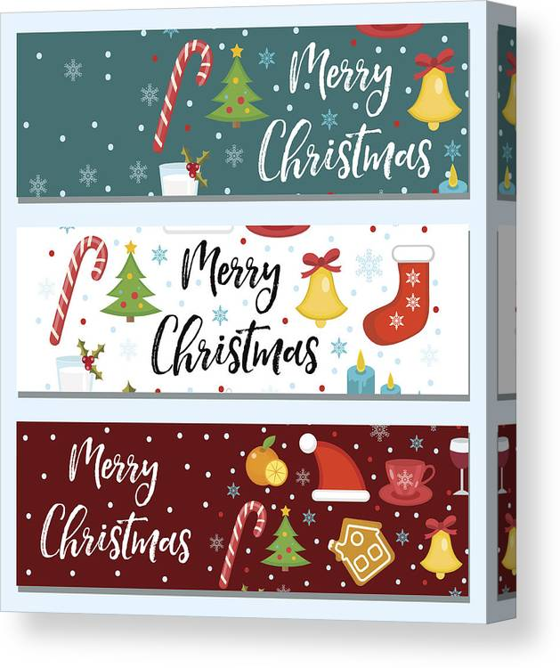 Merry Christmas Set Of Banners, Template With Space For Text For