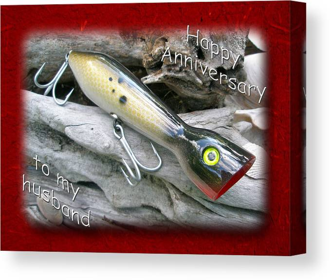 Husband Anniversary Card - Saltwater Fishing Lure - Popper Canvas