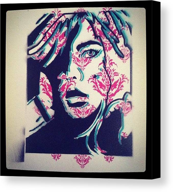 stencil #spraypaint #girl #ironlak Canvas Print / Canvas Art by