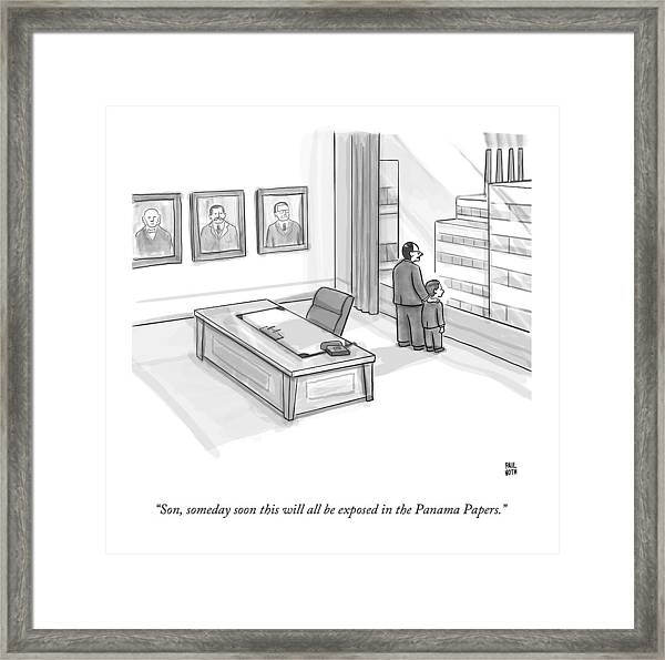 A Father In A Nice Office Looking Out The Window Framed Print by