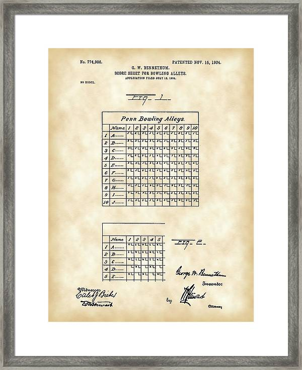 Bowling Score Sheet Patent 1904 - Vintage Framed Print by Stephen Younts