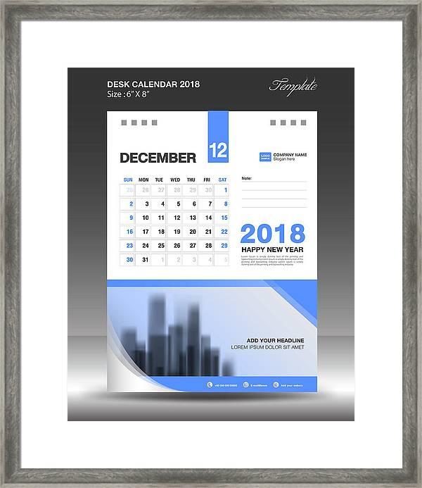 December Desk Calendar 2018 Template Design, Flyer Vector, Business