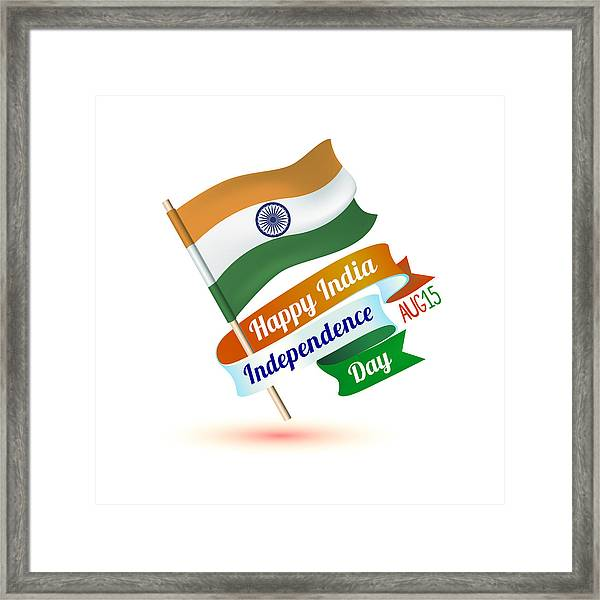 Happy India Independence Day Congratulation Card With Flag Framed