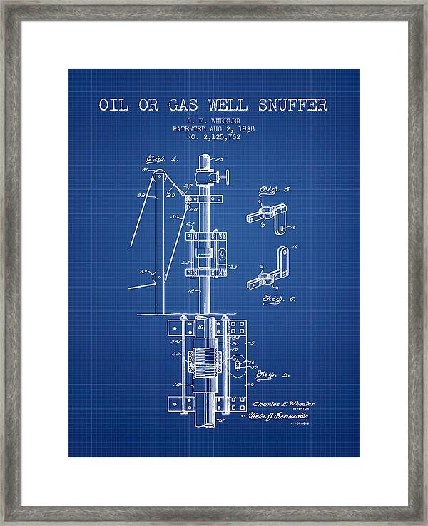 Oil Or Gas Well Snuffer Patent From 1938 - Blueprint Framed Print by