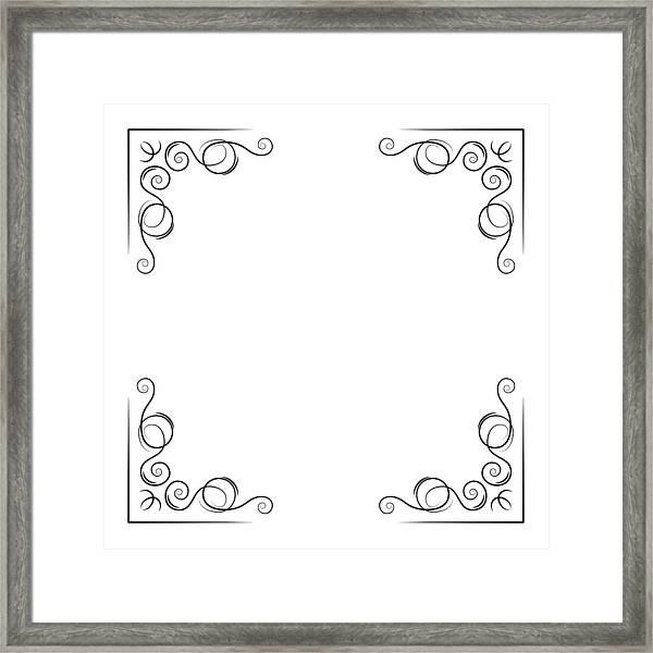 Ornamental Decorative Corners Swirly Lines, Filigree Pade Border