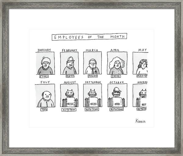 Photos Of The Employees Of The Month Beginning Framed Print by