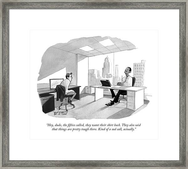 Two Men Speak In An Office Framed Print by Will McPhail