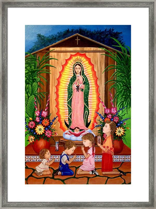 Virgen De Guadalupe #3 Framed Print by Evangelina Portillo