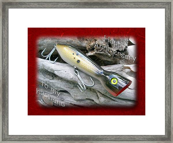 Husband Anniversary Card - Saltwater Fishing Lure - Popper Framed