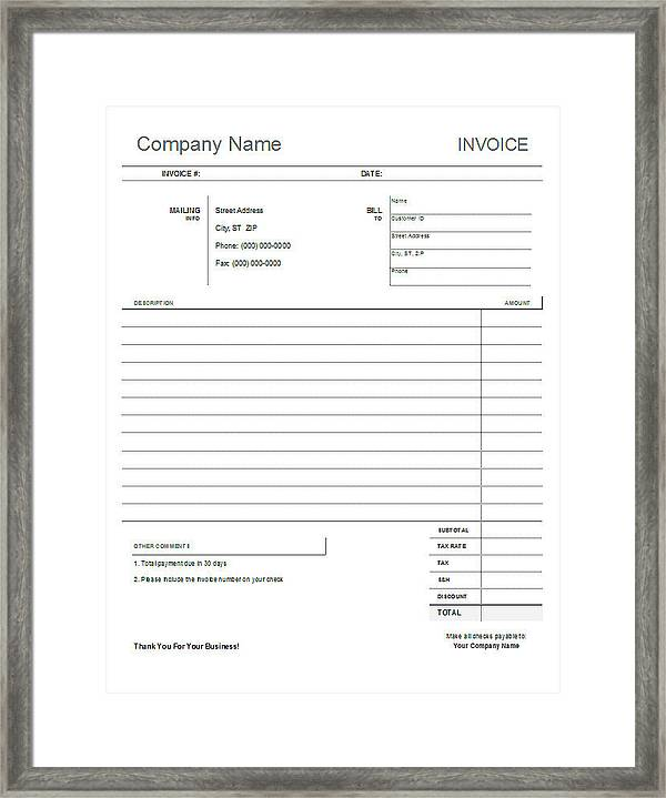 Blank Invoice Template Framed Print by Blank Invoice Template - blank invoice