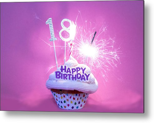 Happy 18th Birthday Cupcake With Number 18 Metal Print by Tracey Media
