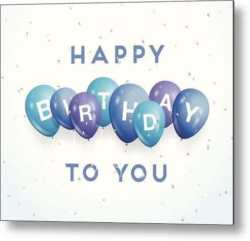 Happy Birthday Balloons And Confetti Metal Print by Logorilla