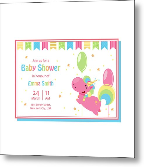 Beautiful Baby Shower Card Template With Cute Unicorn Vector