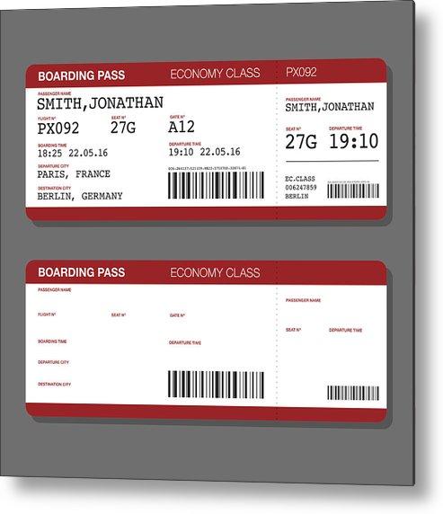 Blank Airport Boarding Pass Template Metal Print by Bortonia