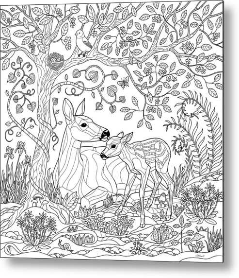 Deer Fantasy Forest Coloring Page Metal Print by Crista Forest