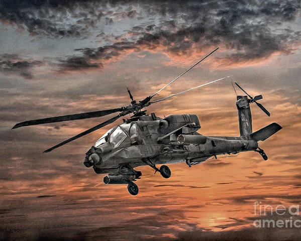 Aviation Wallpaper Iphone X Ah 64 Apache Attack Helicopter Poster By Randy Steele