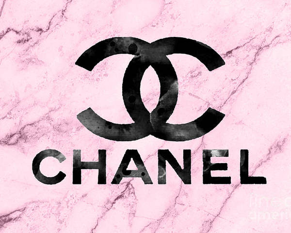 Wallpaper Iphone Pastel Chanel Logo Pink Marble Poster By Del Art