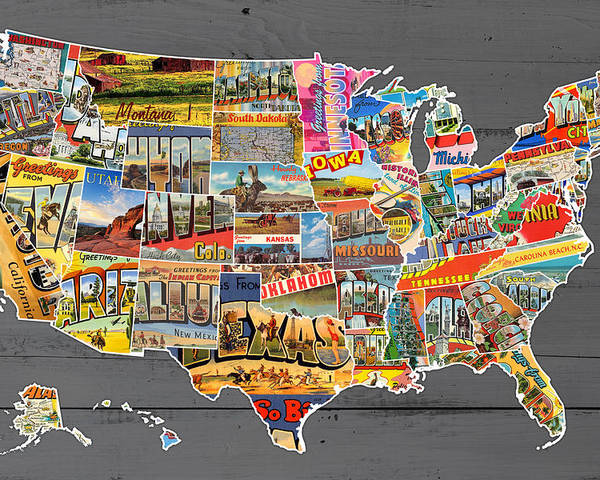 Postcards Of The United States Vintage Usa Map On Gray Wood
