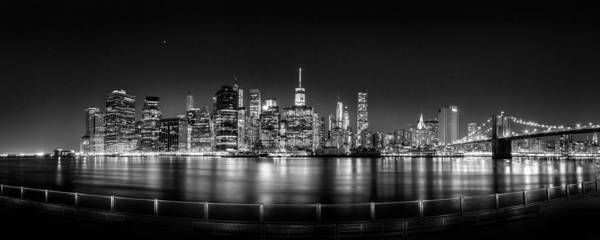 Iphone X Frame Wallpaper New York City Skyline Panorama At Night Bw Poster By Az