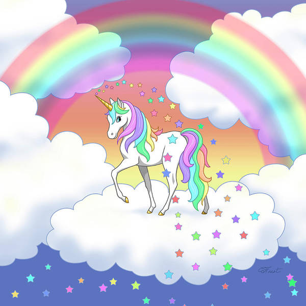 Iphone Wallpaper Cloud Rainbow Unicorn Clouds And Stars Poster By Crista Forest