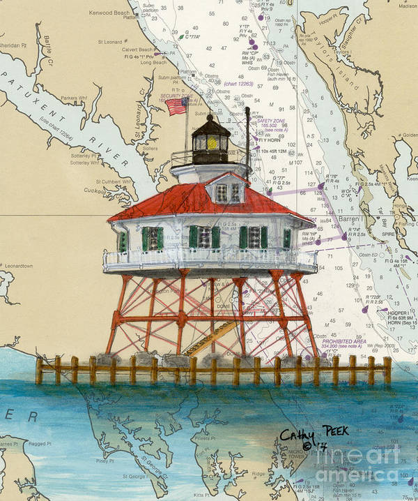 Drum Pt Lighthouse Chesapeake Bay Md Nautical Chart Map Poster by