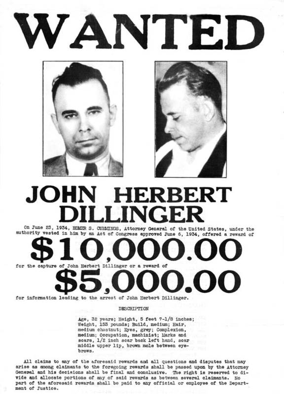 John Dillinger Wanted Poster, 1934 Poster by Science Source - criminal wanted poster