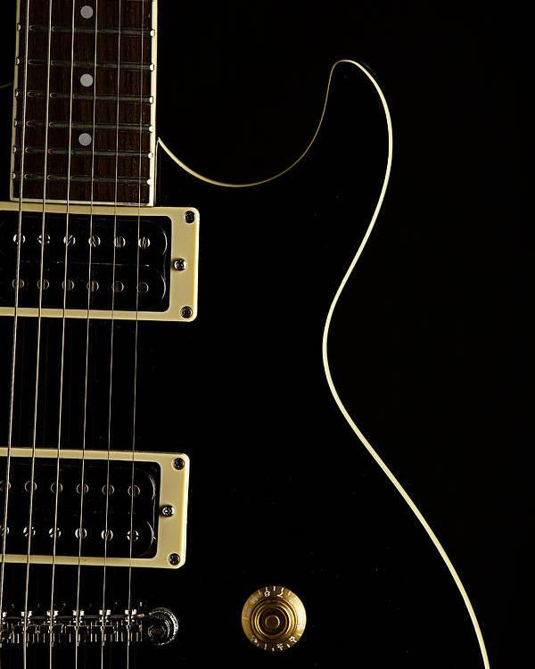 Black Electric Guitar On Dark Background Poster by M K Miller