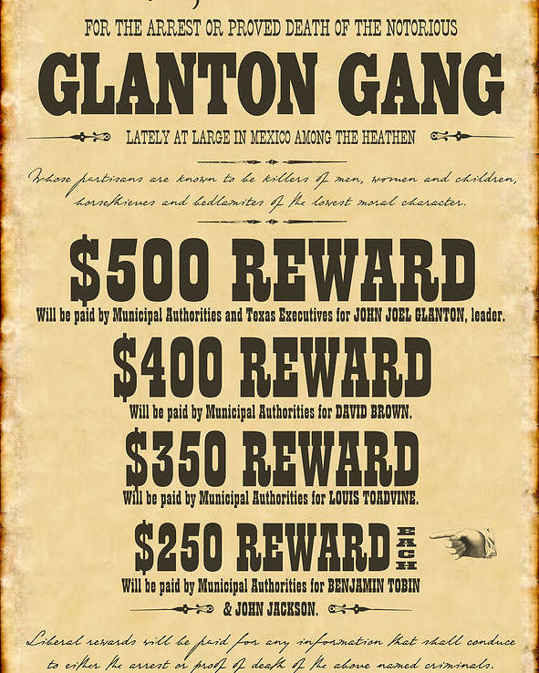 Blood Meridian Wanted Poster Poster by B Easton