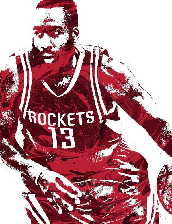 Lebron James Iphone Wallpaper James Harden Houston Rockets Pixel Art 3 Poster By Joe