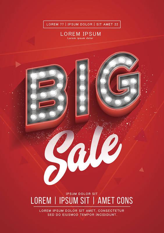 Red Big Sale Poster Or Flyer Design Retro Light Signboard Banner