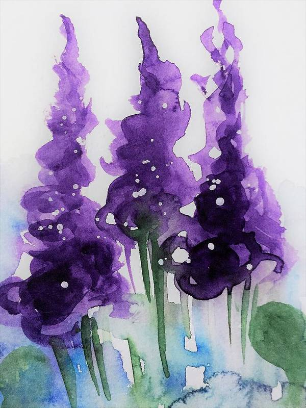 purple Flowers 2 Art Print by Britta Zehm