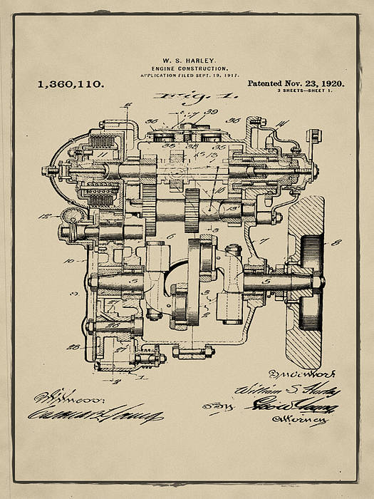 Vintage 1920 Harley Davidson Engine Patent 1 In Sepia Art Print by