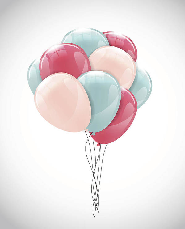 Color Glossy Happy Birthday Balloons Banner Background Vector Il Art