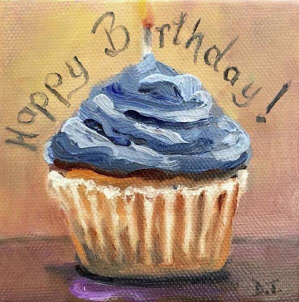 Happy Birthday Cupcake Art Print by Donna Tuten