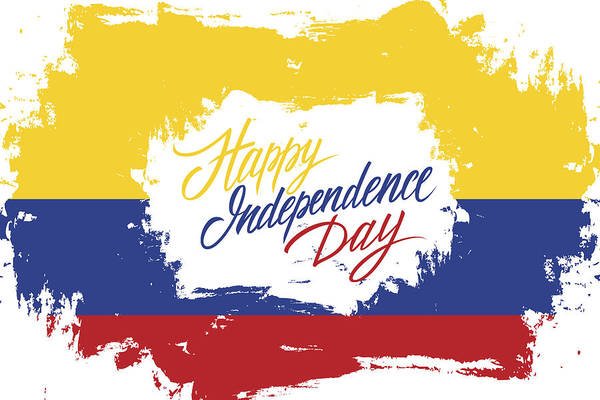 Colombia Happy Independence Day Greeting Card With Colombian Flag