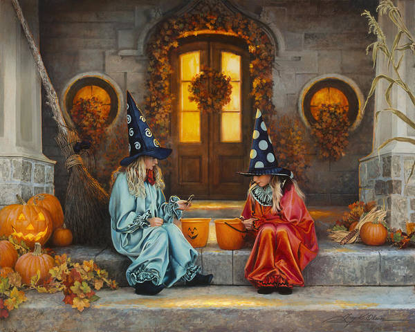 Fall Themed Computer Wallpaper Halloween Sweetness Art Print By Greg Olsen